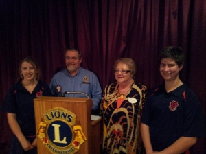 Lions Youth of the Year winners Left - katelyn Abbott and far right Jordan Cory with Millicent Lions Club President John Shelton and Millicent Lioness President Judy Potter.