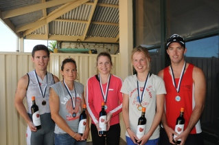 Placegetters in the Challenge course (left to right): Matt Fallon of Adelaide (3rd), Trish Brand of Coonawarra (3rd), Nicki Smart of Lucindale (2nd), Ricarda Gummer from Germany (1st), Dayne Pearce of Miners Rest VIC (2nd).