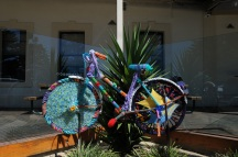 The local Beachport Craft Group decorated the town with Woollen Bike sculptures.