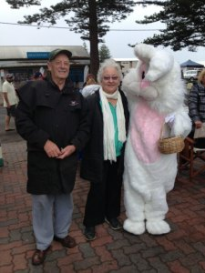 Bruce & Mary Pettman from Millicent receive eggs from Easter Bunny.