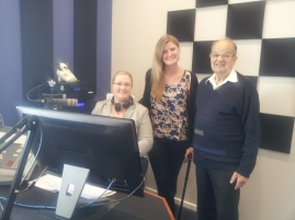 Courtney, Rebekah and Mr Foster in studio 1 at 5THE FM