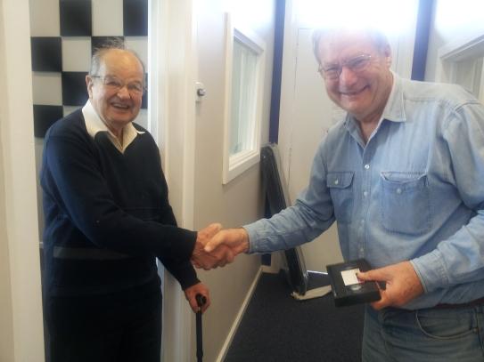 Mr Bob Foster greeted by John Drew