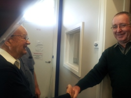 Wattle Range Councillor Barry Stoddardt on a flying visit to 5 THE FM greets Mr Foster