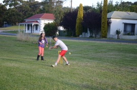Rendelsham Children play Cricket at Rendelsham Christmas party (Batter Brandon Kimber with wicker keeper Emma Elton)