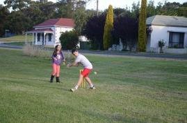 Rendelsham Children play Cricket at Rendelsham Christmas party (Batter Brandon Kimber with wicker keeper Emma Elton)