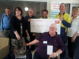 Anne Bierwirth, Colin Pye, Don Renehan & Nick Hann fwith $2000-00 cheque from KCA, Tom Briggs (front)