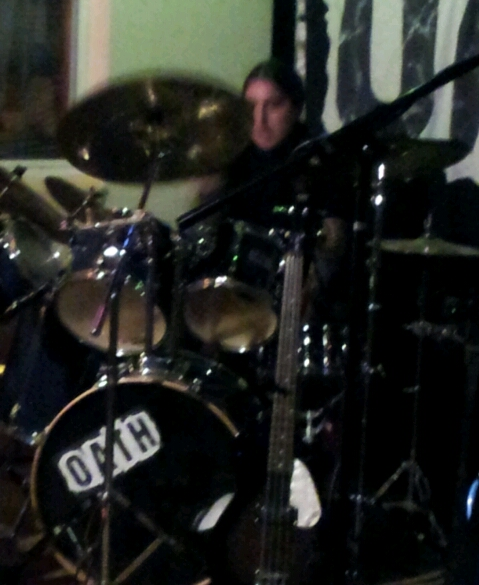 Henry Inglis on drums - impossible to get a clear shot of this master of the sticks