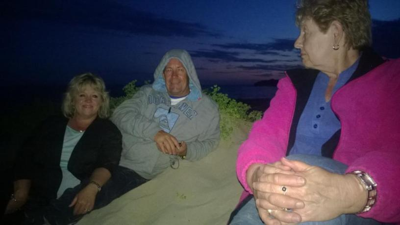 Suzie and David Smith of Adelaide and Margaret Bishop of Millicent enjoying the fireworks at Beachport.