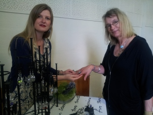 Rebekah Lowe showing dLo designs handmade jewellery
