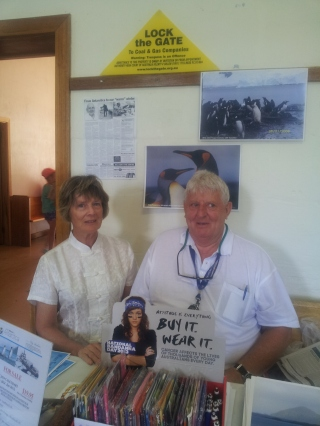 Virginia Pawsey and Tony Henderson caught up at the Antarctica stall