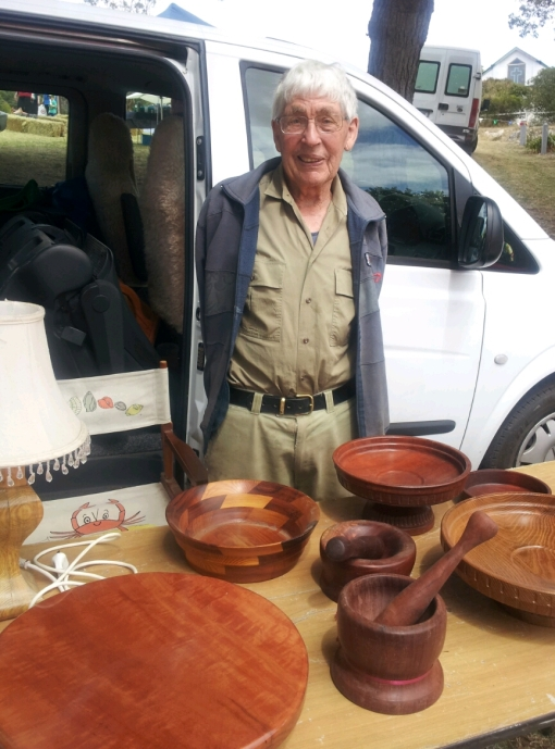 Colin Bennett of Millicent with his hand made wood ware