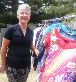 Moira Neagle took the oportunity to clear out some cupboards and pass on her finery to shoppers