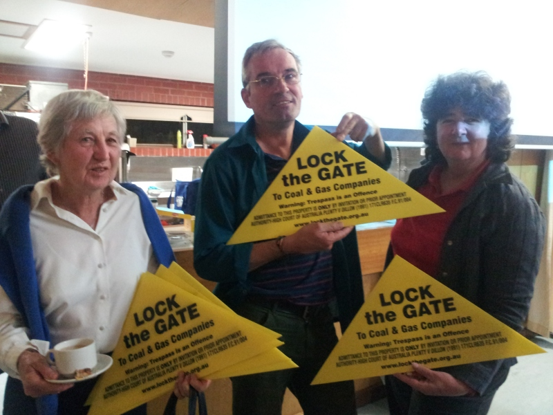 Barbara Cameron,     Martin Sullivan and Kathleen Galvin lock uo their gates