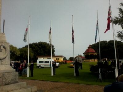 Flag lowering ceremony