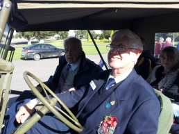 Bruce Clayson behind the wheel with Henry Hawke