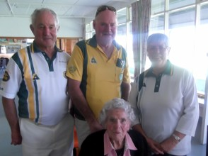 Third Clive Stevens (left), Alan Strother & Heather Carthew with Daph Chapman