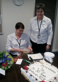 Sue's sister Janine also works at the Clinic and celebrate with her sister today