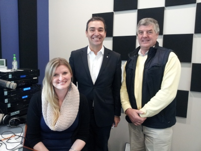 5THE FM presenter Rebekah Lowe, Liberal Leader Steven Marshall and Member for MacKillop in 5 THE FM STUDIO 1