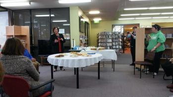 Janice Nitschke AM welcomed visitors to the Library 50th Birthday Celebrations
