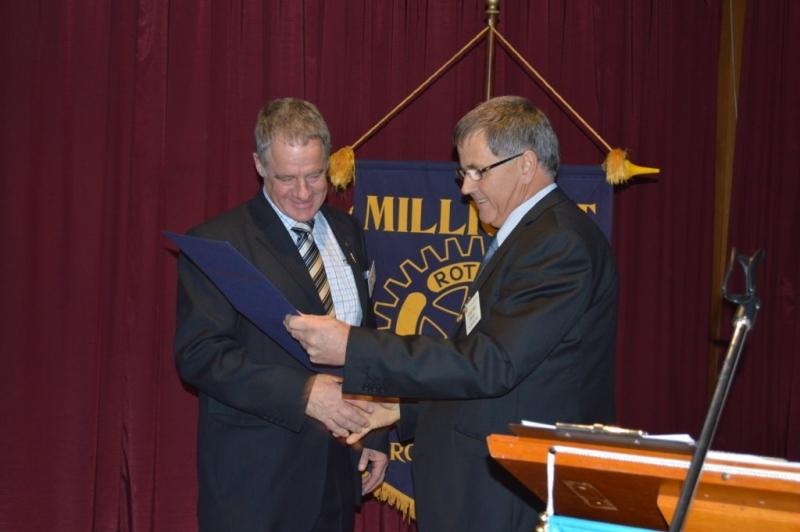 Rotarian John Eldridge with Rotary President Eddy Hann