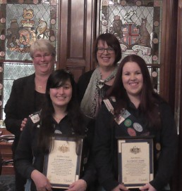 Kathleen Woods and Kate Patten front with their mothers who travelled to Adelaide for the Award Ceremony.