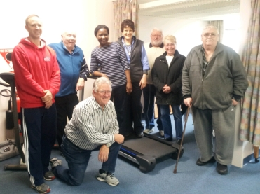 Chris Denton ,Ron,Lydia Chiodze physiotherapist, Wendy Kuhlman Physio assistant, Lance and Dorothy Evans, Tom Briggs and front Colin Pye
