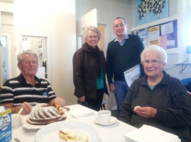 Gordon (left) and Edna (right) travelled from Glencoe to see the station and were joined by Wattle Range Councillors running for re-election Gwenda Lawlor and Barry Stoddardt