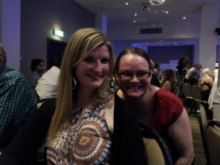 Rebekah congratulated by the 'heart' of the CBAA's Amy Moon