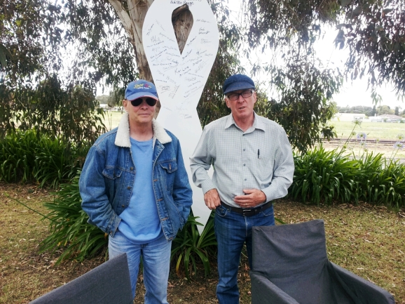 Chairman of 5THE FM and White Ribbon Ambassador Boyd Groeneveld with fellow Ambassadoe Phil Golding