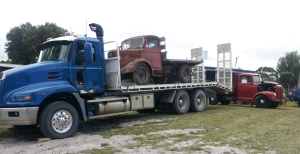 Nathan Bellinger transported the late Mr Bob Foster's truck to the event