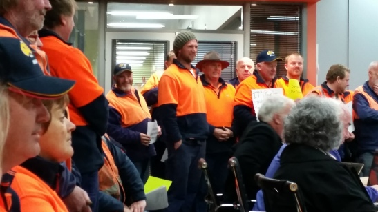 Outside council workers in gallery at council meeting