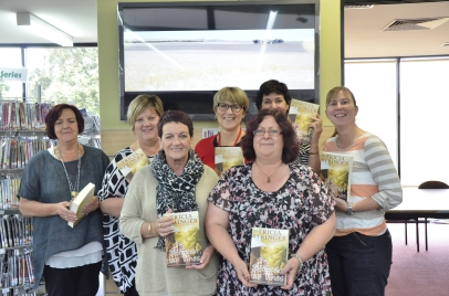 Millicent Library staff enjoy author visit.